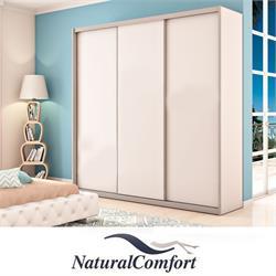 ארון הזזה 3 דלתות עם מסגרת אלומיניום דגם אביב חלק כוללטריקה שקטה כפולהבמגוון צבעים לבחירה