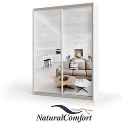 ארון הזזה 2 דלתות באורך 1.2 מטר  עם 2 דלתות מראהומסגרת אלומיניוםכוללמנגנוןטריקה שקטה כפולה