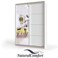 ארון הזזה 2 דלתות באורך 1.2 מטר  עם דלת מראהומסגרת אלומיניוםכולל מנגנוןטריקה שקטה כפולה