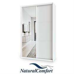 ארון הזזה 2 דלתות באורך 1.4 מטר עם דלת מראה ומסגרת אלומיניום בצבע לבן
