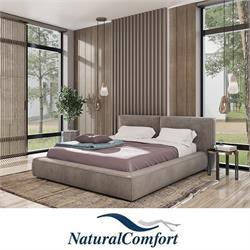 מיטה זוגית מעץ מלא מרופדת בריפוד בד קטיפה דגםהורדוס