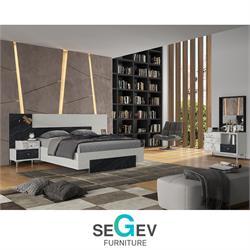 חדר שינה קומפלט עם ראש מיטה רחב דגםבלאקסטון שגב עיצובים