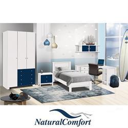 חדר ילדים קומפלט כולל מיטה עם שידה ,ארון בגדים 3 דלתות שולחן פינתי עם כוורת תלויה דגם דניאל