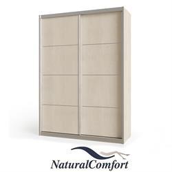 ארון הזזה 2 דלתות  באורך 1.6 מטר עם מסגרת אלומיניום כולל טריקה שקטה כפולה דגם אביב