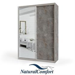 ארון הזזה 2 דלתות עם דלת מראה ברוחב 1.6 מטר מחולק ל 3 תאי אחסוןעם מסגרת אלומיניום