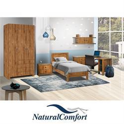 חדר ילדים קומפלט כולל מיטה עם שידה ארון בגדים 3דלתות עם 4 מגירות , שולחן פינתי עם כוורת תלויה דגם דניאלה
