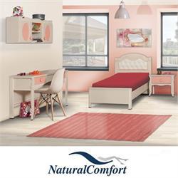 חדר ילדים הכולל מיטה מרופדת עם שידה שולחן כתיבה וכוורת תלויה דגם לארה