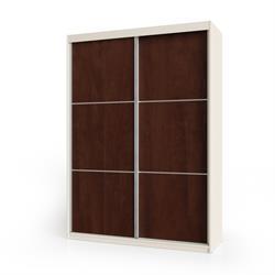 ארוןהזזה 2 דלתות משולב 2 צבעיםדגם אגוז