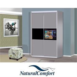 ארון טלוויזיה כולל טלוויזיה מובנית 42 אינץ עשוי MDF עם מסגרת אלומיניום