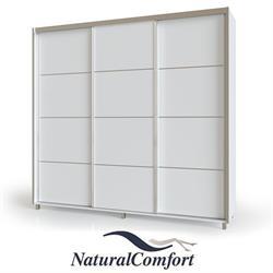 ארון הזזה 3 דלתות באורך 2.4  מטר  עם מסגרת אלומיניום על רגלייםכוללטריקה שקטה כפולהבדגם אביב רגליים
