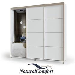 ארון הזזה 3 דלתות באורך 1.8 מטר על רגליים עם דלת מראה ומסגרת אלומיניום כוללטריקה שקטה כפולהבדגם אביב רגליים