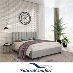 מיטה זוגית מעץ מלא מרופדת בבד קטיפה כולל מזרון  דגםפסים