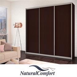 ארון הזזה  גדול 3 דלתות באורך 2.4 מטר  עם מסגרת אלומיניום דגם אביב כוללטריקה שקטה כפולהבמגוון צבעים לבחירה