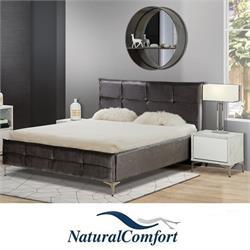 מיטה זוגית מרופדת מבד או דמי עור דגם מונקו