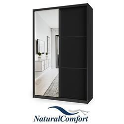ארון הזזה יוקרתי2 דלתותעם דלת מראה ומסגרת אלומיניום בצבע שחור