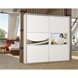 ארון טלוויזיה 2 דלתות באורך 1.8 מטר עם מסגרת אלומיניום בשילוב הדפסה על זכוכית