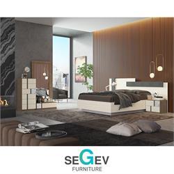 חדר שינה קומפלט בשילוב 2 צבעיםעם ראש מיטה רחב דגם אינפיניטי שגב עיצובים