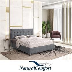 מיטה זוגית מעץ מלא מרופדת בריפוד בד קטיפה