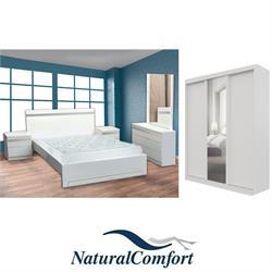 סט חדר שינה זוגי קומפלט וארון הזזה 3 דלתות תואם דגם עידן