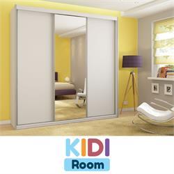 ארון הזזה 3 דלתות חלקות עם דלת מראה באורך 1.8 מטר דגם פריז