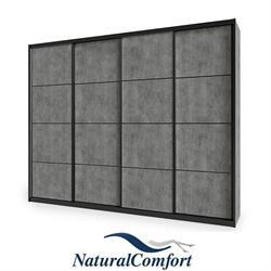 ארון הזזה גדול  4 דלתות לפי מידה מאורך 3.6 מטר עד 4 מטר  עם מסגרת אלומיניוםשחורה דגם דארק