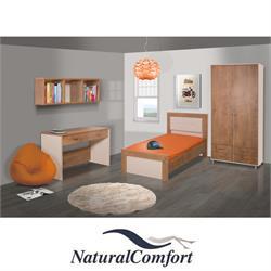 חדר ילדים קומפלט כולל מיטה ארון בגדים 2 דלתות וספרייה דגם תמרי