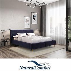 מיטה זוגית  מעץ מלא מרופדת בריפוד בד קטיפה כולל מזרן דגםדובה