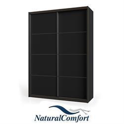 ארון הזזה יוקרתי2 דלתותעם מסגרת אלומיניום בצבע שחור