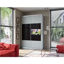 ארון טלוויזיה 2 דלתות באורך 1.6 מטר עם מסגרת אלומיניום בשילוב זכוכית כולל טלוויזיה 32 אינץ חכמה