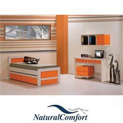 חדר ילדים  כולל מיטה עם מיטה נגררת  ושולחן כתיבה עם 4 מגירות וכוורת דגם אביב
