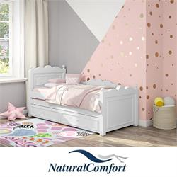 מיטתנוער ברוחב 120מעץ מלאכולל מיטה נגררת וזוג מזרנים מתנה דגם שאנל