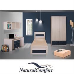 חדר ילדים קומפלט כולל מיטה ארון בגדים 2 דלתות עם 4 מגירות וספרייה דגם לירון
