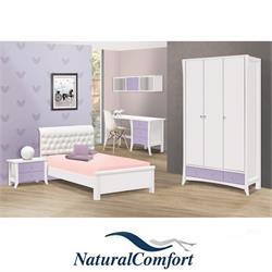 חדר ילדים קומפלט הכולל מיטה מרופדת, ארון בגדים 3 דלתות,שידה,כוורת ושולחן
