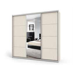 ארון הזזה 3 דלתות באורך 1.8 מטר עם דלת מראה ומסגרת אלומיניום