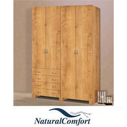 ארון בגדים 4 דלתות נפתחות וארבע מגירות עשוי MDF