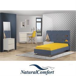 חדר ילדים  מפואר כולל מיטה מרופדת עם שידה שולחן מחשב עם כוורת וקומודה קטנה עם מראה דגם אלמוג