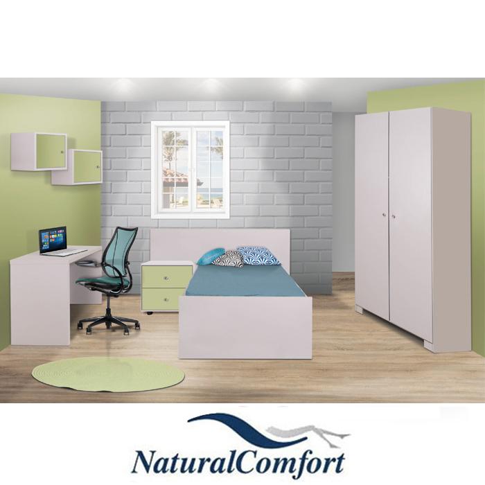 חדר ילדים קומפלט כולל מיטה עם מזרון ארון בגדים 2 דלתות ושולחן כתיבה דגם נועם