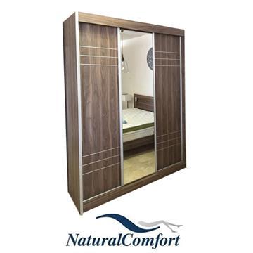 ארון הזזה 3 דלתות עם מראה ופסי ניקל עשוי MDF
