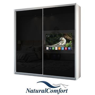 ארוןטלוויזיה2 דלתותזכוכיתבאורך2 מטר עם מסגרת אלומיניום כסופהוזוג מגירות מתנה