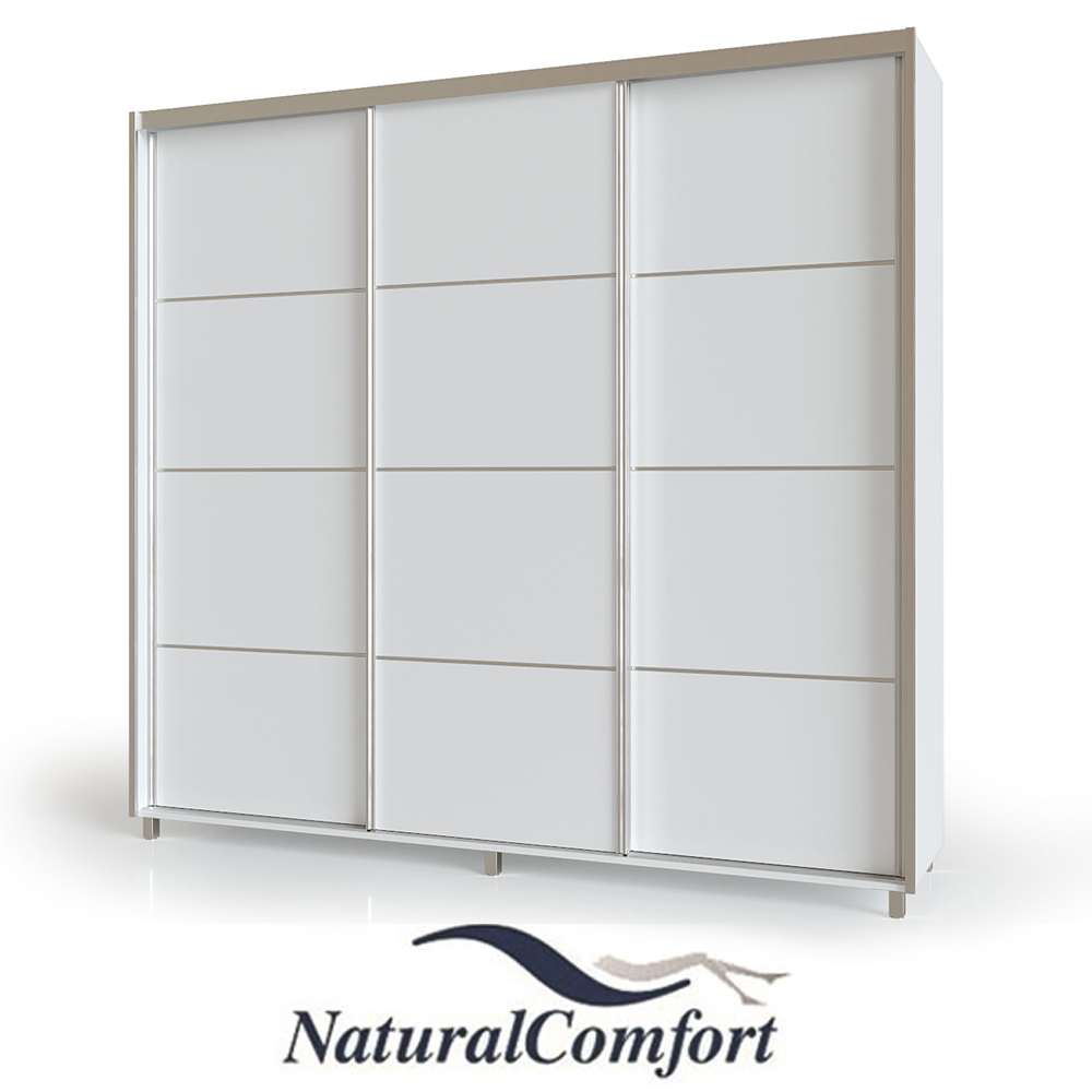 ארון הזזה 3 דלתות באורך 1.8 מטר  עם מסגרת אלומיניום על רגלייםכוללטריקה שקטה כפולהבדגם אביב רגליים