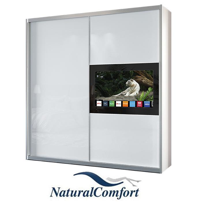 ארוןטלוויזיה יוקרתי  2 דלתותזכוכית באורך 1.8 מטר  פלוס זוג מגירות עם חזית זכוכית מתנה