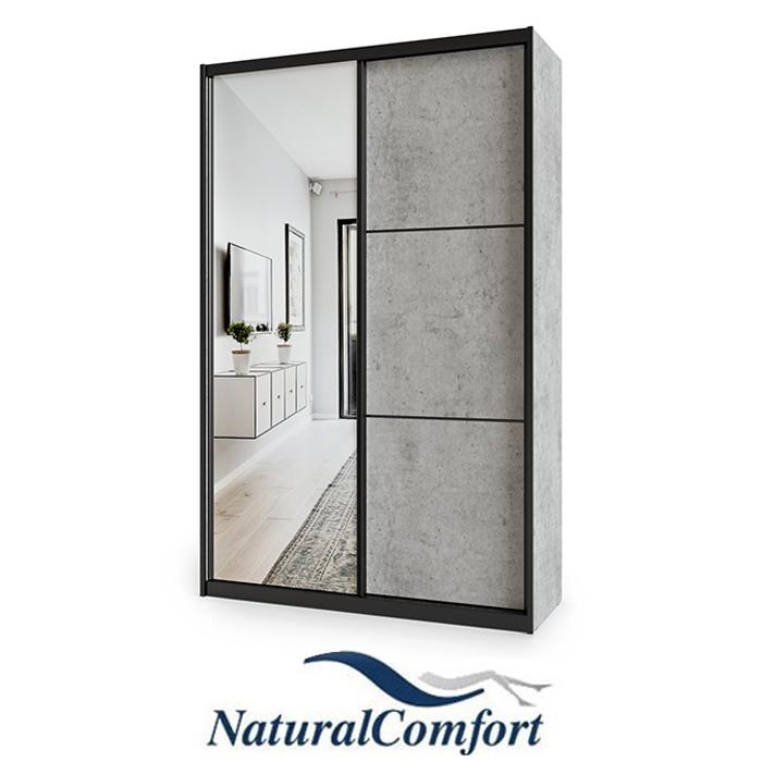 ארון הזזה 2 דלתות באורך 1.2 מטר עם דלת מראה ומסגרת אלומיניום בצבע שחור